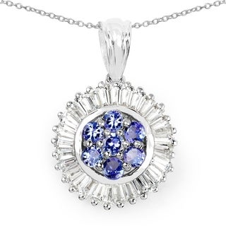 Malaika Sterling Silver 2 1/2ct Tanzanite and White Topaz Pendant