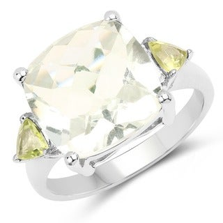Olivia Leone Sterling Silver 6 7/8ct Green Amethyst and Peridot Ring