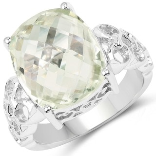 Olivia Leone Sterling Silver 6 3/4ct Green Amethyst Ring