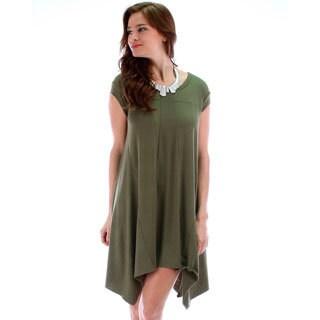 Lyss Loo Women's Raw Edge Oversized T-Shirt Dress
