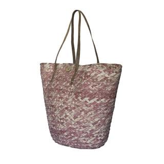 Handmade Barielly Pink Palm Leaves Tote Handbag (India)