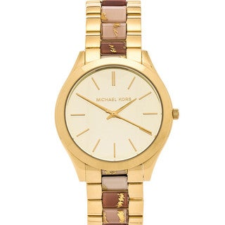 Michael Kors Women's Slim Runway Gold-tone Thee Hand Watch