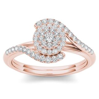De Couer 10k Rose Gold 2/5ct TDW Diamond Bypass Halo Engagement Ring - Pink