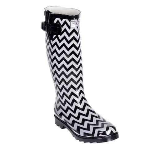 Women's Rain Boots - Black/White Zig