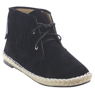 Chase And Chloe Miko-1 Women's Fringe Moccasin Lace Up Ankle Booties