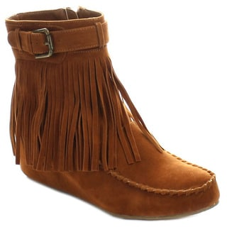 Liliana Arty-1 Women's Moccasin Hidden High Wedge Heel Fringe Ankle Booties