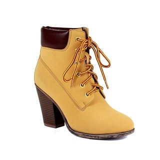 Reneeze Pala-01 Women's Lace Up Stacked Chunky Collar Ankle Working Booties
