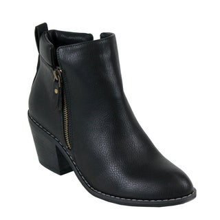 Reneeze POLO-01 Women's Stacked Chunky Heels Ankle Booties
