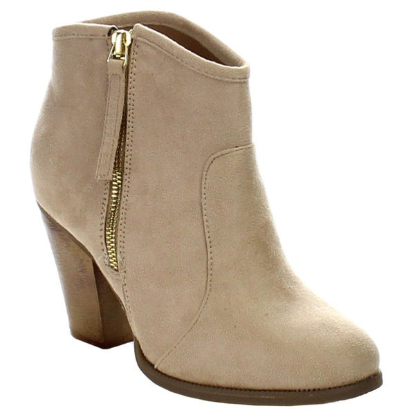 Liliana Women's Romane-1 Faux Suede Chunky Heel Riding Ankle Booties