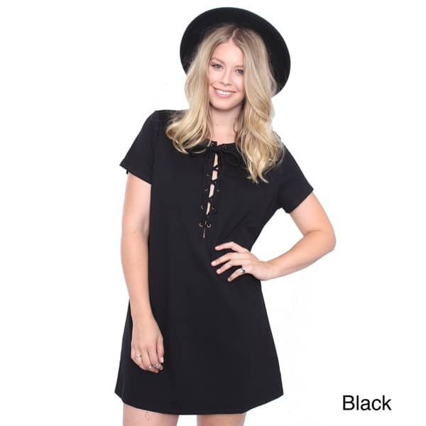 Shop Juniors\' Plus Size Lace Up Dress - Free Shipping On ...