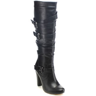 Chase And Chloe Apollio-01 Women's Straps Buckle Knee High Stacked Heel Boots