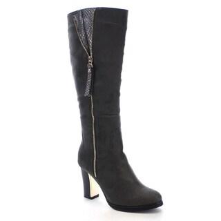 Reneeze Paris-01 Women's Snake Side Zipper Chunky Heel Knee High Boots