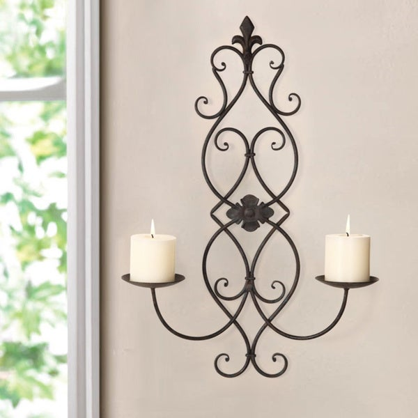 adeco iron and glass vertical wall hanging candle holder sconce holds two pillar candles