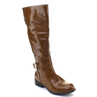 DBDK Fidelia-1 Women's Side Zip Chunky Heel Knee High Riding Boots