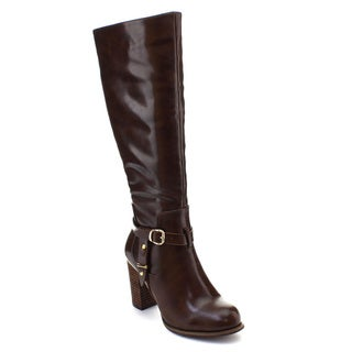 DBDK Greer-1 Women's Buckle Ankle Strap Knee High Stacked Chunky Riding Boots