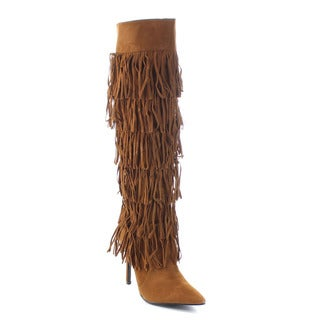 Cape Robbin Artena-By-1 Women's 6-Layers Fringe Stiletto Knee High Boots