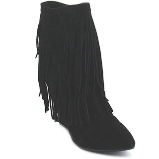 Liliana Tesla-1 Women's Two Layers Fringe Wedges Mid-Calf Boots