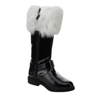 Funtasma Santa-102 Men's 1-Inch Flat Heel Men's Knee High Gold Buckle Santa Boots