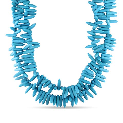Miadora Silvertone Turquoise 2-strand Necklace