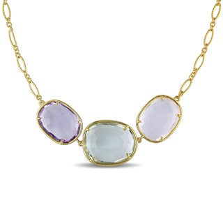 Miadora Yellow Silver Multi-gemstone Necklace