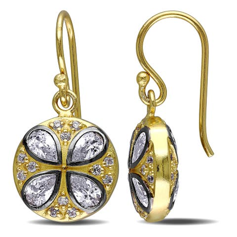 Miadora Yellow Plated Sterling Silver Cubic Zirconia Circle Dangle Earrings - White