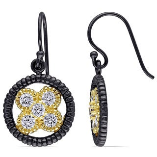 Miadora Yellow Plated Sterling Silver Cubic Zirconia Circle Dangle Earrings