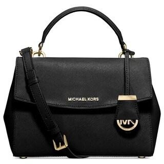 Michael Kors Ava Black Small Saffiano Top Handle Satchel Handbag