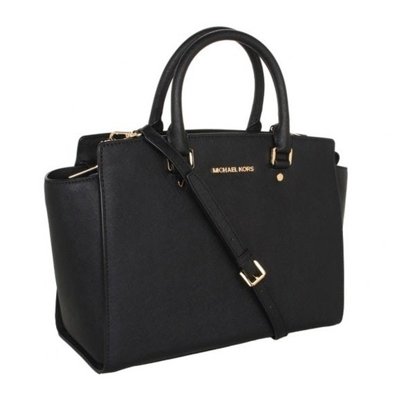 f7548d70c0 Shop Michael Kors Selma Black Saffiano Large Top-Zip Satchel Handbag ...