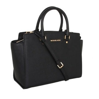 Michael Kors Selma Black Saffiano Large Top-Zip Satchel Handbag
