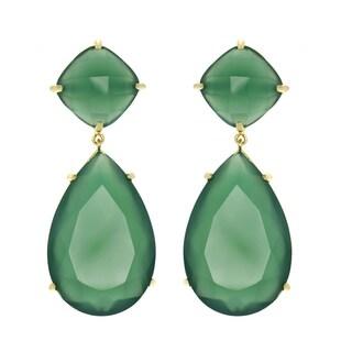 Green Onyx Pear Drop Earrings