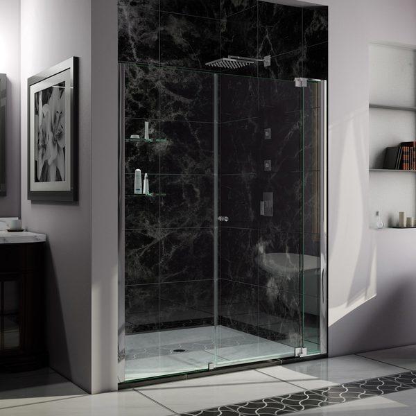 DreamLine Allure 57 to 58 in. Frameless Pivot Shower Door, Clear Glass Door