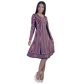 Kayla Collection Women's Long Sleeve Geometric Dress