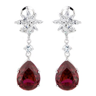 Red Cubic Zirconia Cluster Dangle Earrings
