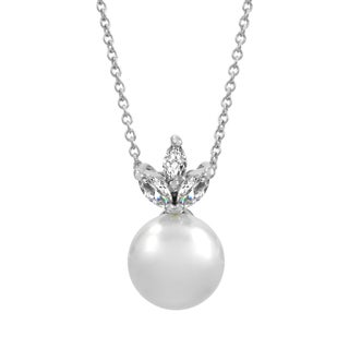 Bridal Jewelry: Elegant CZ Petal & pearl Necklace
