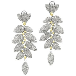 Two Tone Leaf Cubic Zirconia Dangle Earrings