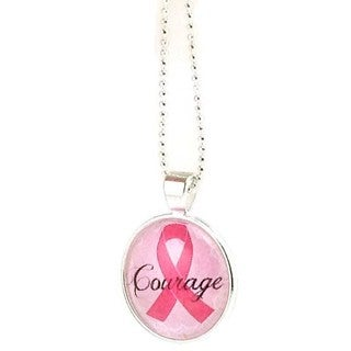 Mama Designs Handmade Pink Ribbon Breast Cancer CourageGlass Pendant