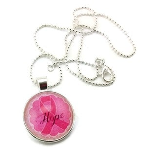 Mama Designs Handmade Pink Ribbon Breast Cancer Hope Glass Pendant