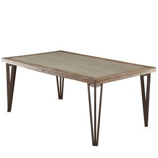 Furniture of America Hailey Rustic Weathered Elm Stone Top Dining Table