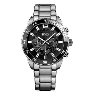 Hugo Boss Men's Chronograph Black Dial Silver-Tone Stainless Steel Bracelet Watch 1512806