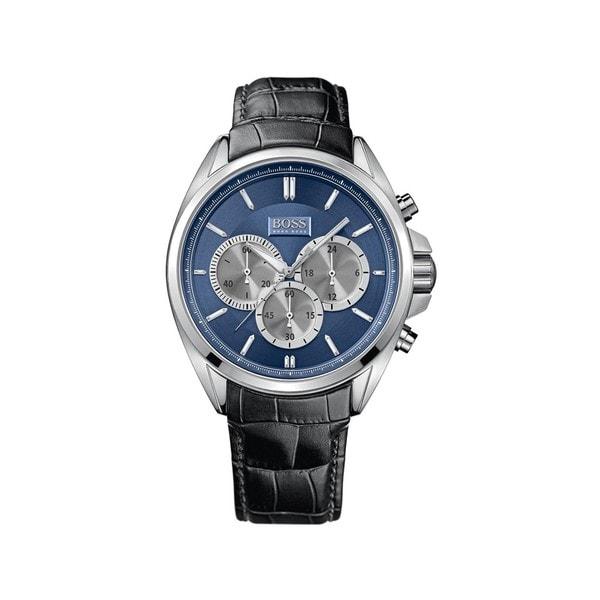 3569cfbf40f2 Hugo Boss Men  x27 s Chronograph Blue Dial Black Leather Watch 1512882