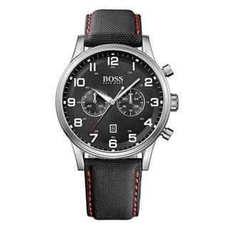 Hugo Boss Men's Chronograph Black Dial Black Leather Watch 1512919