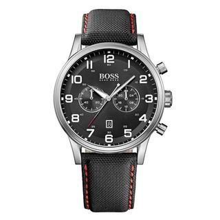Hugo Boss Men's Chronograph Black Dial Black Leather Watch 1512919