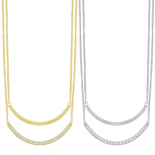 Fremada Sterling Silver with Cubic Zirconia Adjustable Length Double Curve Bar Layered Necklace (white or yellow)
