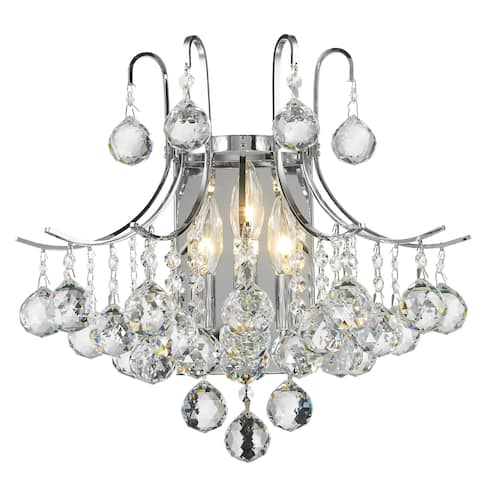 French Empire 3-light 16 in. Chrome Finish Crystal Wall Sconce Light - Large Wall Sconce
