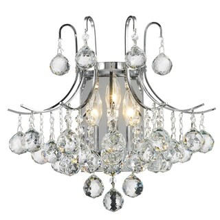 French Empire 3-light Chrome Finish and Clear Crystal 16-inch wide Wall Sconce