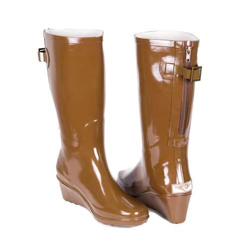 Women's Rubber Rain Boots  Brown Wedge