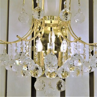 French Empire 3 Light Gold Finish and Clear Crystal Wall Sconce