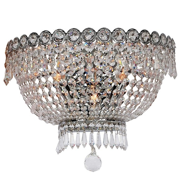French Empire 3-light 16 in. Chrome Finish Crystal Wall Sconce Light - Large Wall Sconce. Opens flyout.