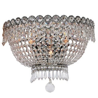 French Empire 3-light Chrome Finish and Clear Crystal 16-inch Wall Sconce