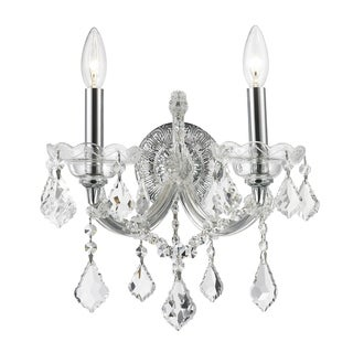 Maria Theresa Grand 2-light Chrome Finish and Clear Crystal Candle 12-inch Wide Wall Sconce